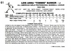 "Lois Anna ""Tommie"" Barker, Unofficial Baseball Card, 1990"