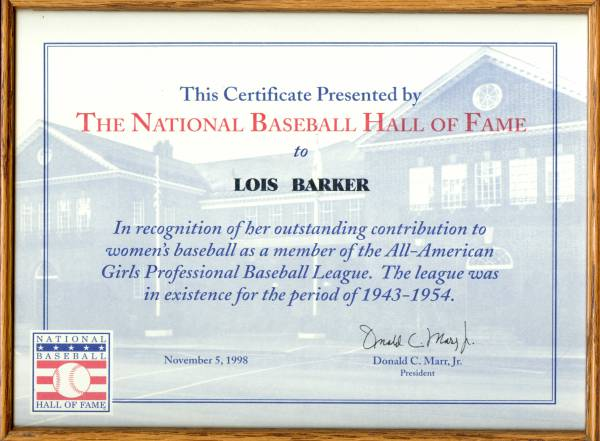 Baseball Hall of Fame Certificate