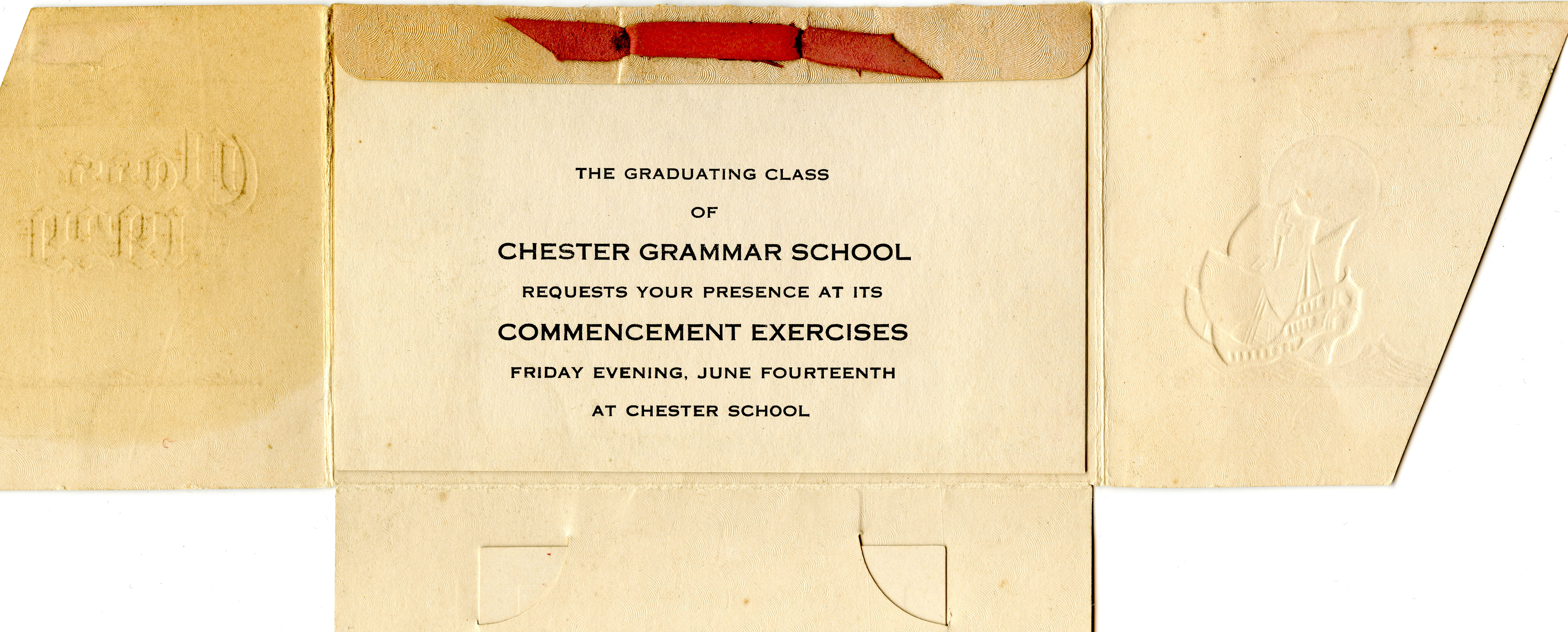 Chester Grammar School Commencement Invitation
