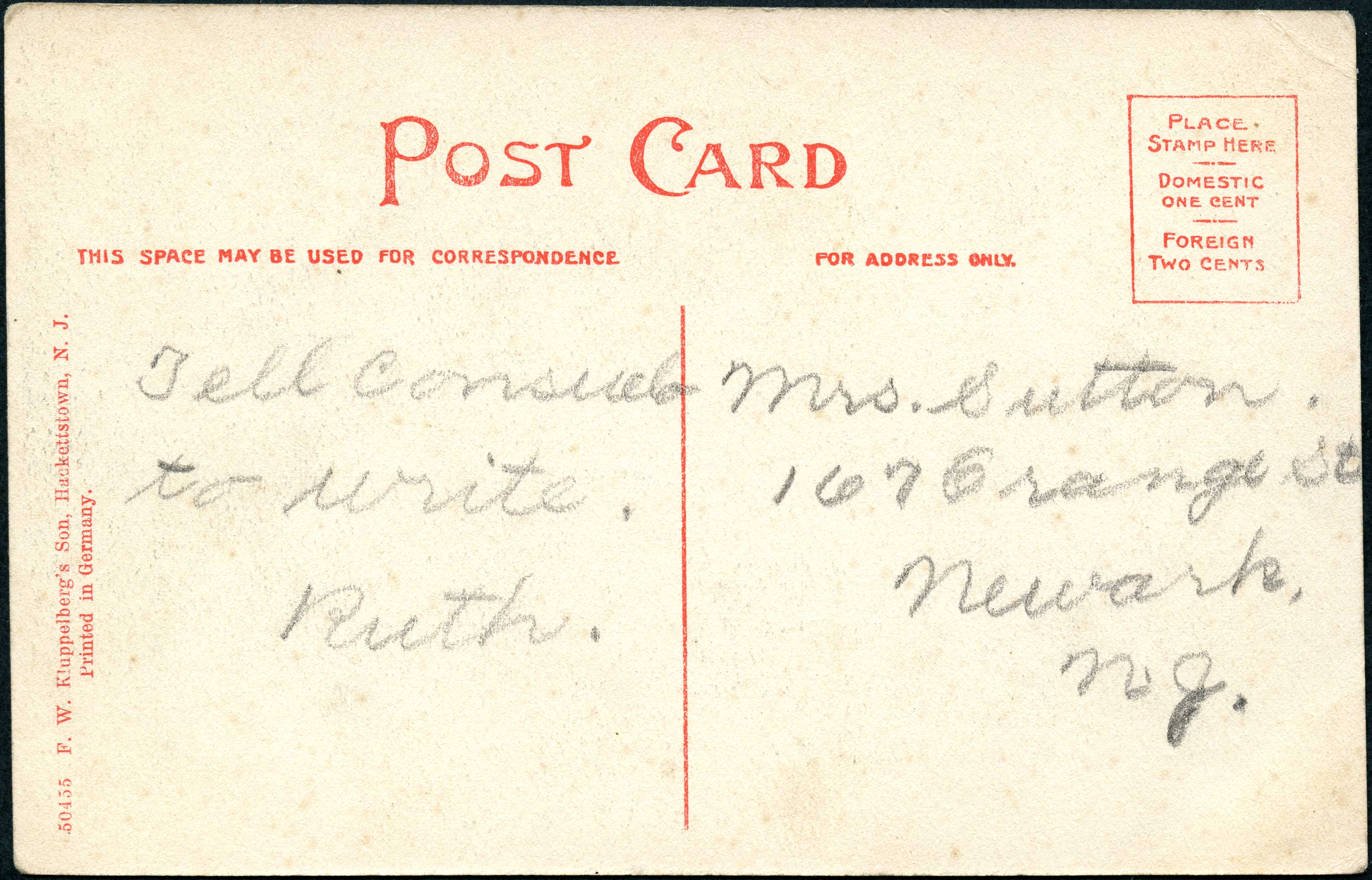Square and Mill Street, German Valley (reverse)