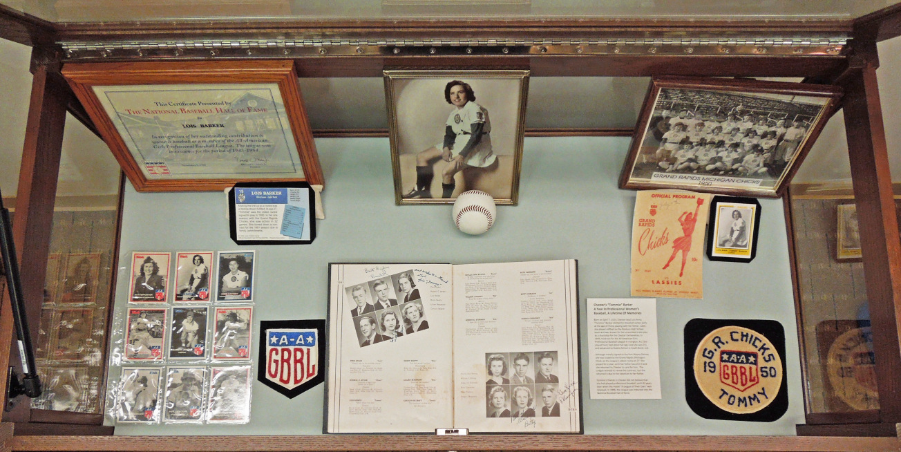 """Chester's """"Tommie"""" Barker -- A Year In Professional Women's Baseball, A Lifetime Of Memories Exhibit, contains photos, uniform patches, Roxbury H.S. yearbook, baseball cards, and Baseball Hall of Fame certificate"""
