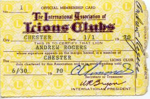 The first Chester Lions Club member card, Andy Rogers.