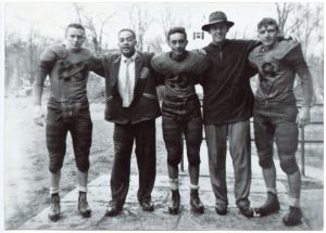 1952 Cranford High School State Champs, Vinnie, Coach Avery, Timmy, Coach Grayson, and Andy Rogers (left to right)